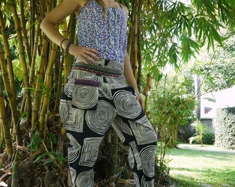Hmong Hill Tribe Style, Black and White Swirl -One Size Fits All - Men and Women- By Amonchai