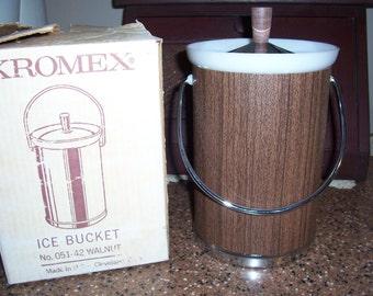 Vintage Kromex Ice Bucket...Original Box..Mid Century Barware...Mad Men Bar Ice Bucket..
