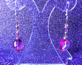 Purple Pink and Orange Fiesta Glass Dangle Earrings approx 2 inches Ladies Jewellery Gifts for her