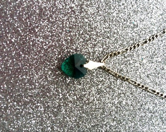 Emerald Green Heart Crystal Glass Pendant on 18 inch Sterling Silver Figaro Chain-Gifts for women-Gifts for her-Ladies Jewellery-Ladies Gift