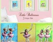 Ballet, Ballerinas, PRINT SET 3, dancers children, wall art girls Nursery Art, digital  reproduction of original pastel