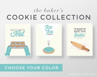Funny Kitchen Print Set - Cookie baking bakers minimal modern retro typography posters aqua teal cute mid century modern rolling pin icing