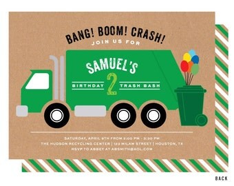 Garbage Truck Invitation, Trash Bash Birthday Party Invitations, Recycling Party, Printable or Printed