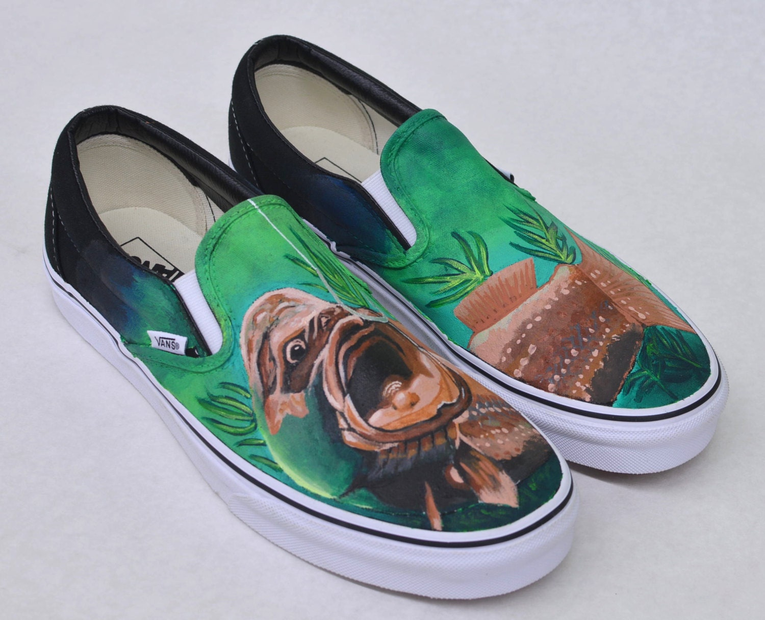 Hand painted fish vans slip ons custom for White fishing boots