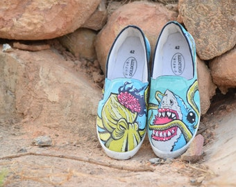 Custom painted Shoes fighting of the shark with octopus