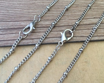 20pcs 27 inche 3mm White K bead chain with lobster clasp