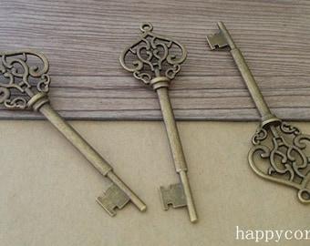 10pcs  22mmx70mm Antique bronze  Double sided  key  pendant charm 22mmx70mm
