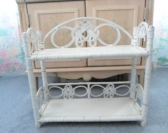 Vintage White Wicker Wall Shelf, Bath Bedroom Shabby Decor