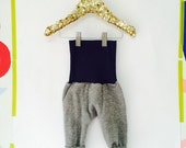 BOUNCE 0-3 Months Pants Childrens Trousers Wool Longies Leggings Real Nappies Cloth Diaper Thermals in Upcycled Wool Unisex