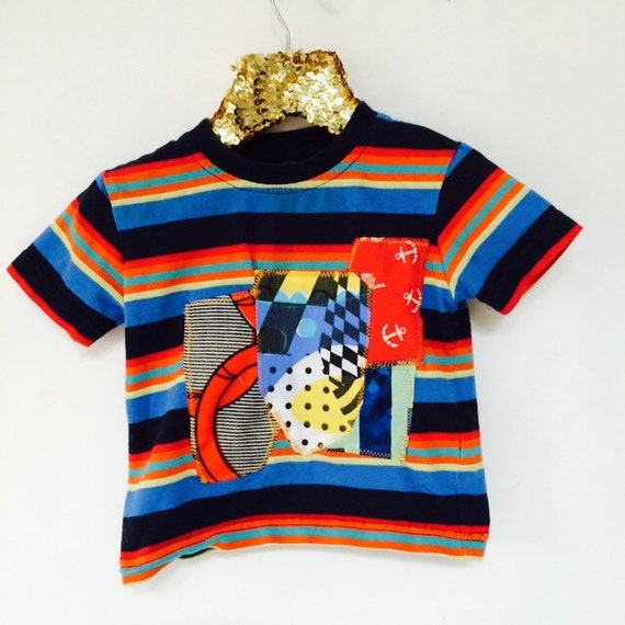 COVER 6-12 Months Kids Childrens T Shirt Upcycled in cotton Patch Work Cover Unisex MH
