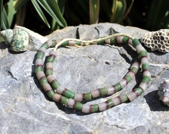 Vintage African Trade Beads, Pressed Glass, Sand Cast, Beads Traveling the Globe, Emerald Green T.21