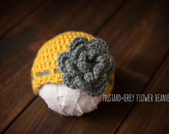 Newborn girl hat beanie yellow with grey flower ready to ship Photography Prop RTS