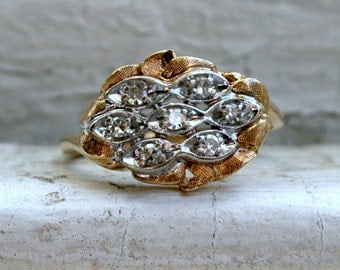 Lovely Vintage 14K Yellow Gold Diamond Cluster Engagement Ring.