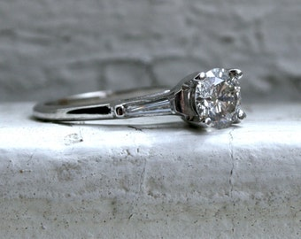 RESERVED - Classic Vintage 14K White Gold Diamond Engagement Ring with Baguettes - 1.30ct.