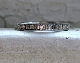 Amazing Antique 14K White Gold Pave Diamond Full Eternity Wedding Band - 0.44ct.