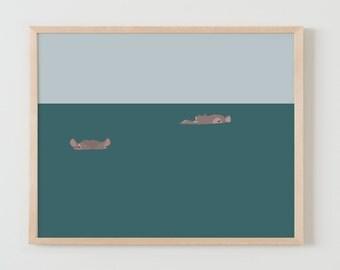 Fine Art Print.  Hippos in Water.  November 30, 2015.
