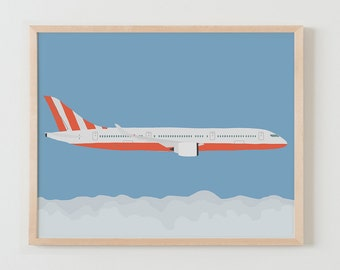 Fine Art Print.  Airplane in Sky above Clouds.  January 25, 2016.