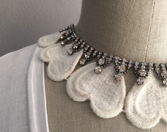 Ivory Embroidered Collar Necklace with Rhinetonse Embelishment and Jewelry Back Closure