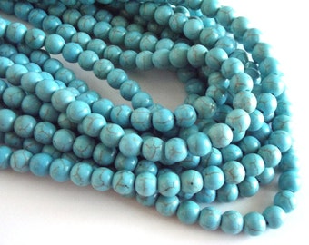 "Turquoise Magnesite Beads, 8mm Round Beads - 15"" Strand"