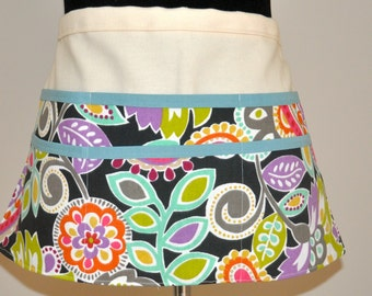 Utility Apron, Teacher apron, Gardening apron, Craft fair apron, Brightly colored apron, Women's Vendor Apron,  Bright Modern Floral