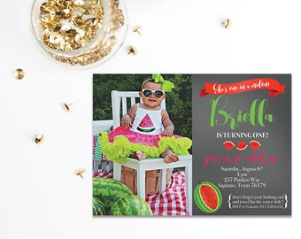 Watermelon Birthday Party Invitation | She's one in a melon! | Summer Picnic