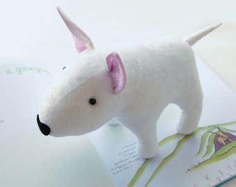 Pet BullTerrier stuffed toy dog, Vintage cotton, plush puppy Free shipping