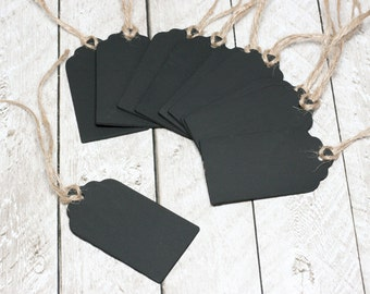 Scallop Chalkboard Tags with Twine, Set of 10
