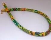 Green Orange Bead Crochet Necklace - Handmade Beaded Necklace - Mixed Colors Handmade Beadwork Necklace -  Bead