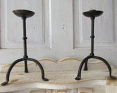 Set of two Iron candle holders vintage