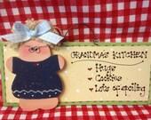 GRANDMA'S KITCHEN HUGS Cookies Lots of spoiling  wood sign grandparent Grandma cute wood crafts wooden doll