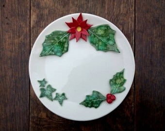 Christmas candle holder, holly, poinsettia, ivy, ceramic winter holiday decor
