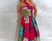 Single Strap Floral Print Maxi SunDress for Barbie or similar fashion doll