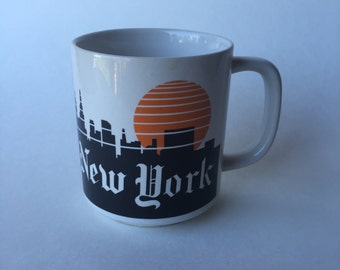 New York, New York Coffee Mug, Cup with Skyline and New York Times Style Font