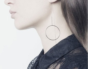 Long open circle threader chain earrings
