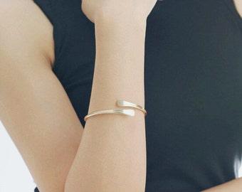 Gold open cuff bracelet - stacking cuff