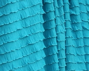 Turquoise Cascading Ruffle Fabric by the Yard