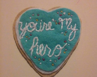 You're my Hero Wreck it Ralph felt heart brooch