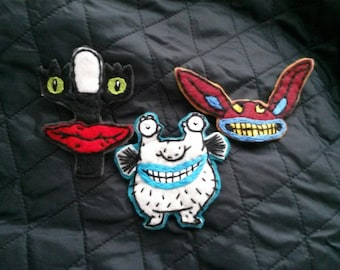 Aaahh!!! Real Monsters felt brooches