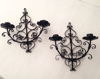 Set of Wrought iron wall scones candle holder, gothic, Paris chic