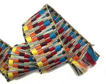 Colorful Ethnic ZigZag Knitted Aztec Ribbon Trim 2 YARDS
