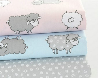 Twill Cotton Fabric for craft, Sheep Cartoon Pink Blue Gray, Quilting Fabric 1/2 Yard (QT623)
