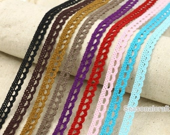 One Yard Lace Trims 8mm Wide,Embroidery Crochet , Blue black Brown Red Color, Scalloped,Cotton (YL81B)
