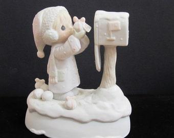 """New Listing Enesco Precious Moments Porcelain Music Box"""" I Am Sending You a White Christmas"""" 1987"""