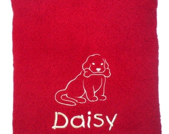 Personalised Pet Towel Large with Puppy and Bone