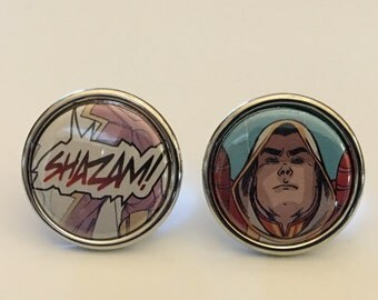 Shazam Cufflinks, Superhero Cufflinks, Captain Marvel Cufflinks, Comic Book Cufflinks, Wedding Cufflinks, Father's Day, Gifts for Him