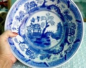 """Victoria Blue Willow Vintage 9"""" Serving Bowl,  Made in England, Blue & White Pottery"""