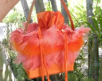 20% OFF Vintage Funky and Fun Orange Feather & Satin Covered Handbag, Halloween