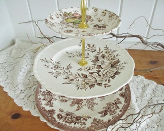 Vintage 3 tier cake stand in shades of cream and brown ironstone, mis-matched plates, English Garden Tea Shop tea stand, excellent condition