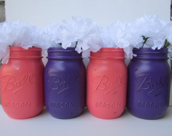Painted and Distressed Ball Mason Jars- Coral and Dark Purple-Set of 4 Flower Vases, Rustic Wedding, Centerpieces