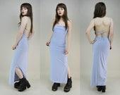 90s Lilac Strappy Backless Side Split Tie Back Slinky Maxi Dress S